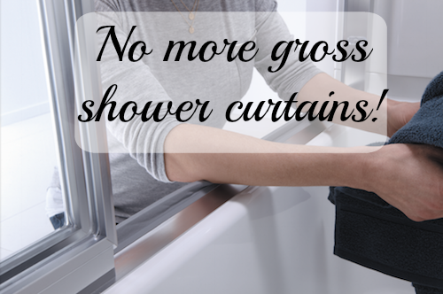 No More  Shower Curtains!  The Sterling Prevail shower door.