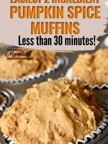 pumpkin muffins in a muffin tin with a text banner stating less than 30 minutes