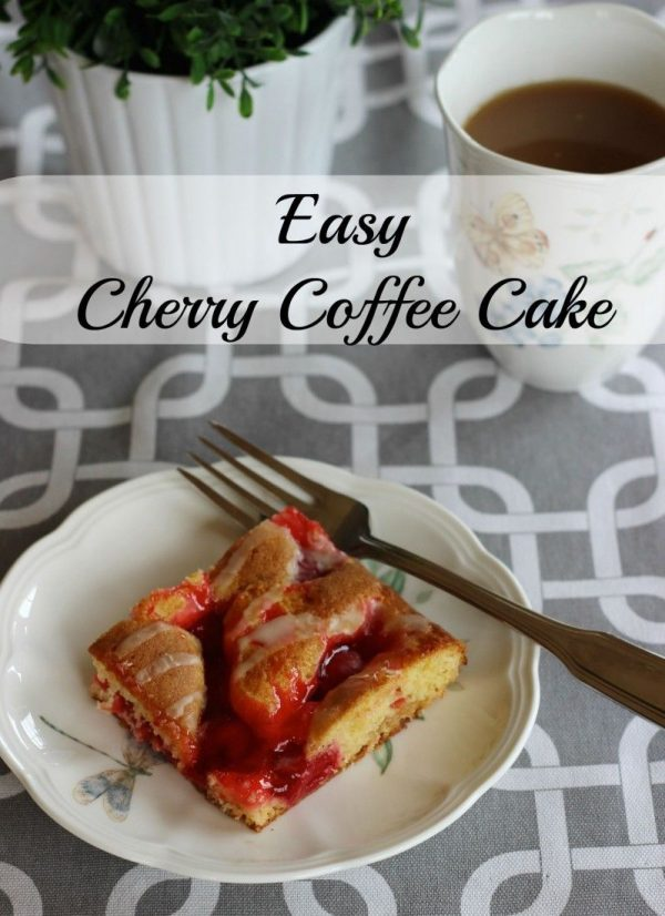 Easy and Quick Cherry Coffee Cake .