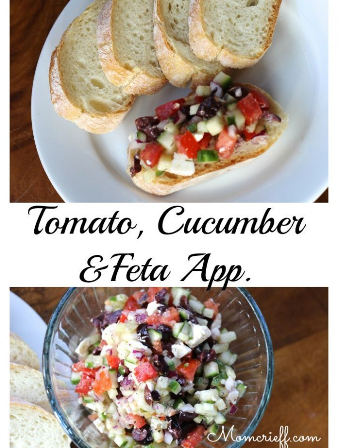Tomato and Cucumber with Feta Appetizer.