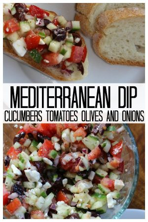 mediteranian dip with fresh cucumbers, tomatoes, onions , olives & feta