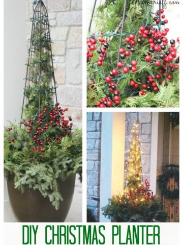 Christmas planter with trellis and white lights.