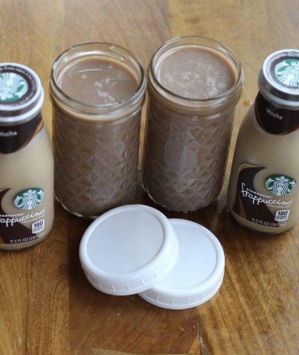 My Starbucks Frappuccino copycat recipe. Single servings in a mason jar.