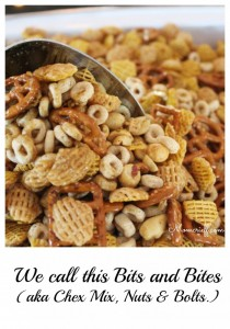 Bits and Bites. Or, you may call it Chex Mix or Nuts and Bolts. Whatever you call it, it's good!