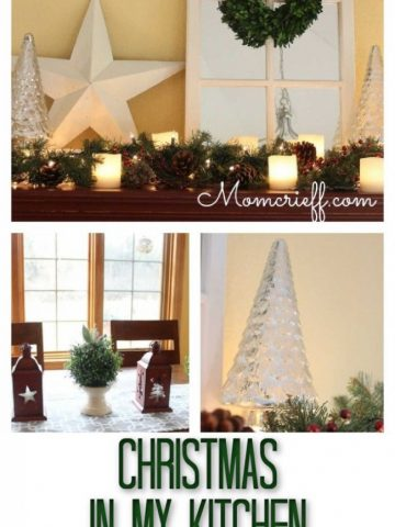 collage of christmas decor in different areas in the kitchen