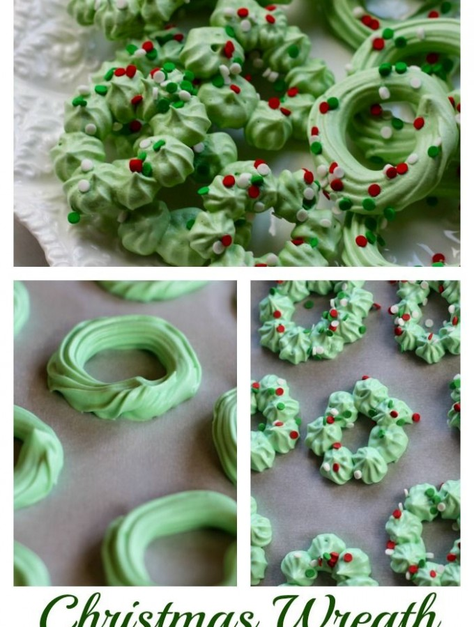 Christmas wreath meringues.