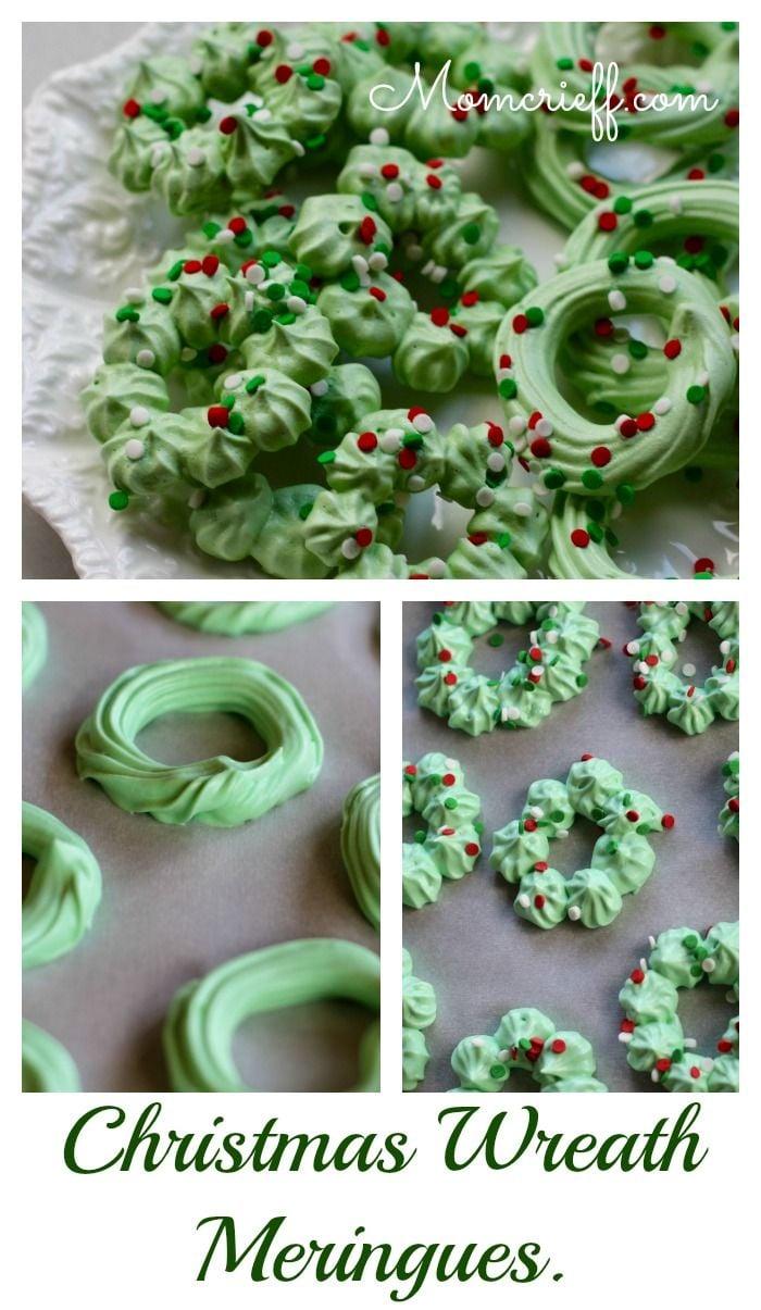Christmas wreath meringues