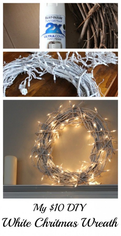 DIY White Christmas Wreath – $10.