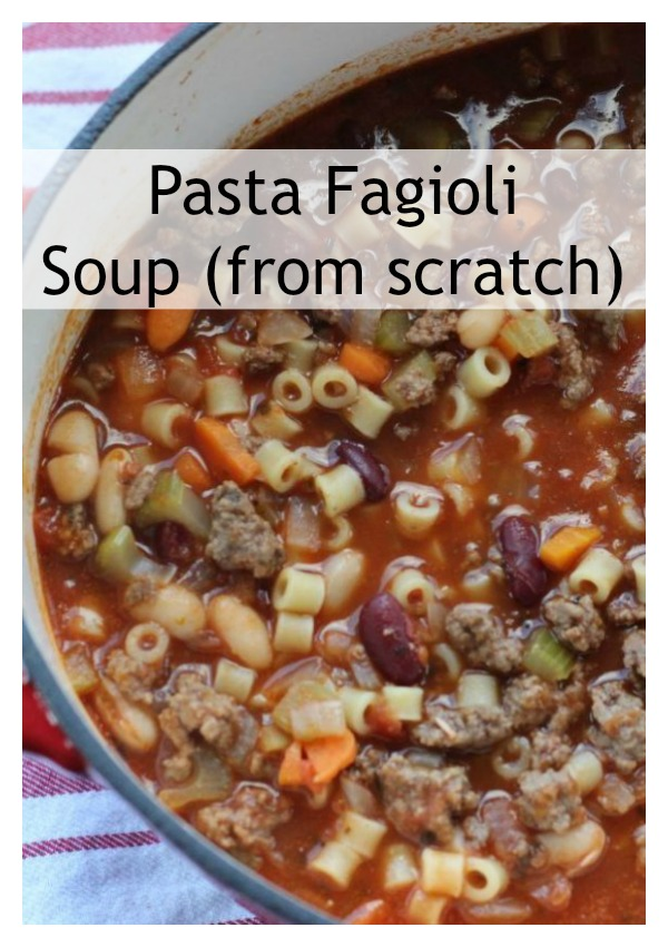 Pasta Fagioli soup in a big red pot