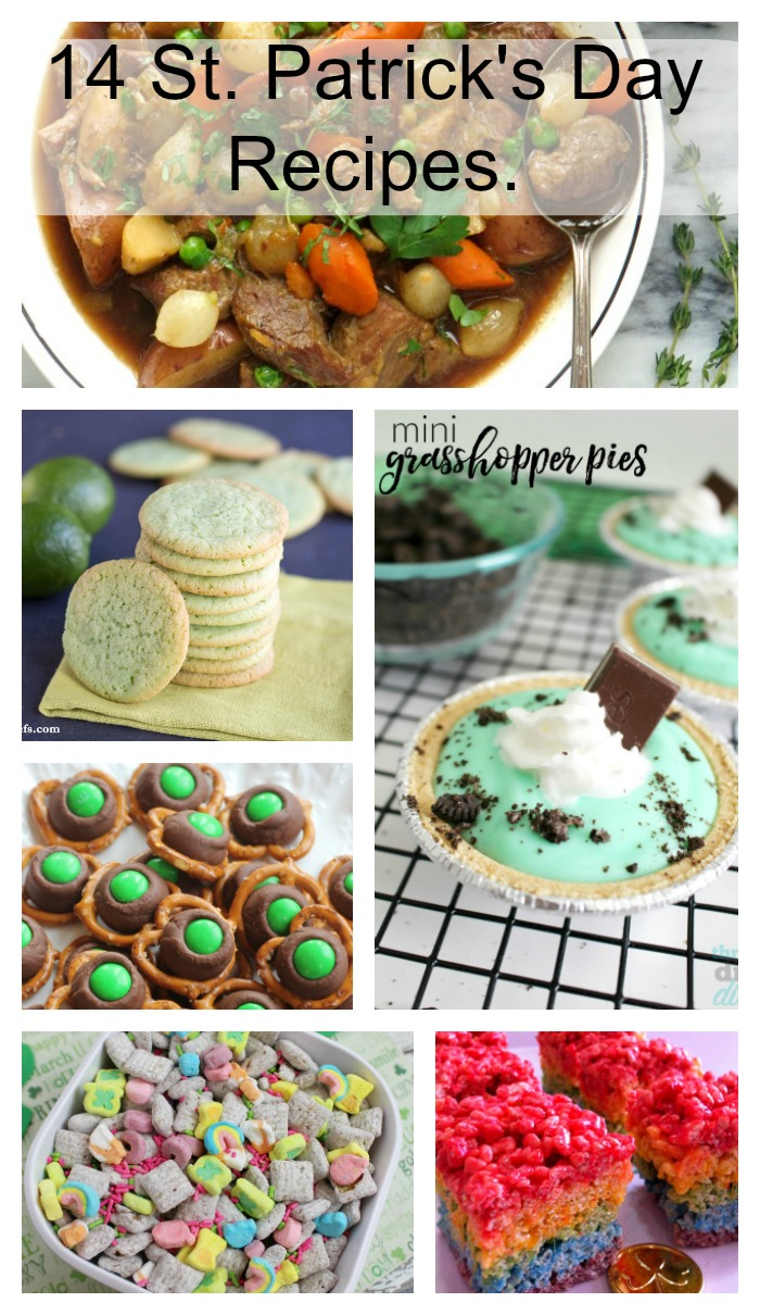 Collage of 14 food ideas for St. Patrick's Day.