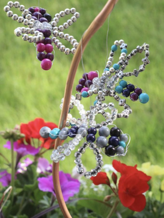 Beaded Dragonfly Planter Decoration