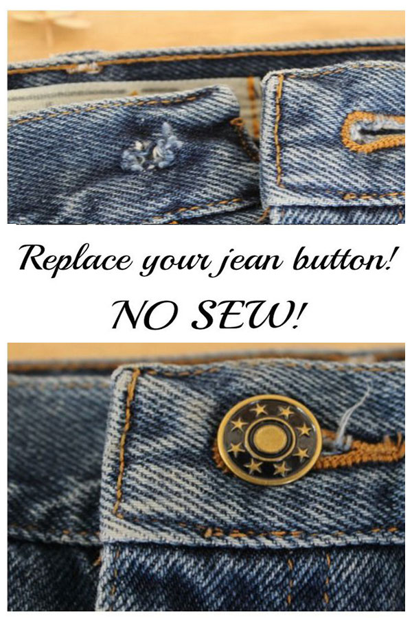 Replace a jean button – no sew (easy!!)