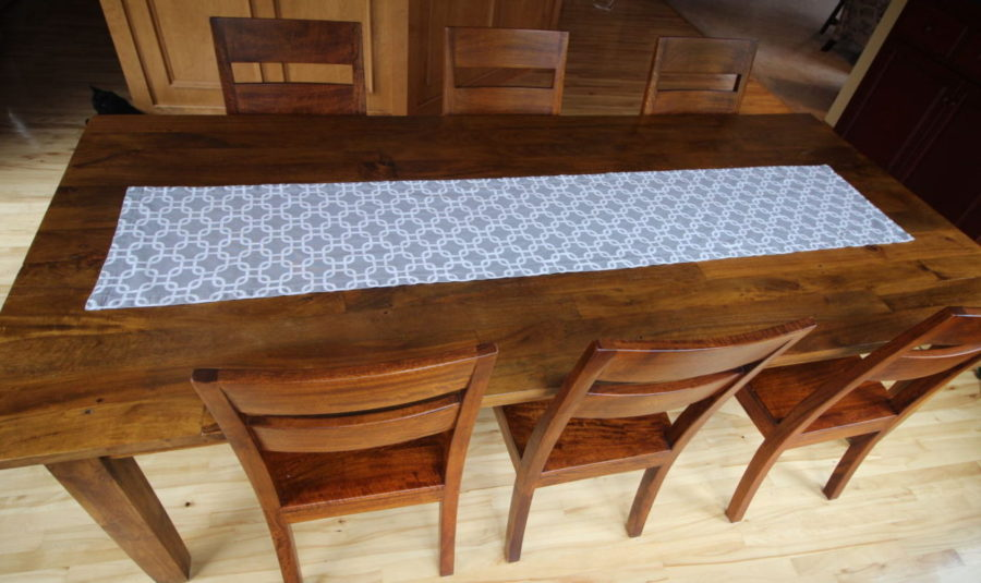 wooden table with runner