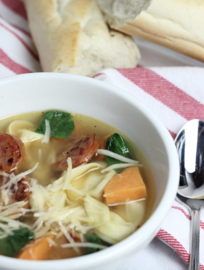 Tortellini Soup with Cheese Brats – a hearty soup!