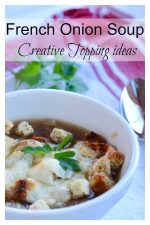 A bowl of French onion soup with croutons and melted cheese