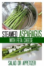 Steamed asparagus with feta cheese