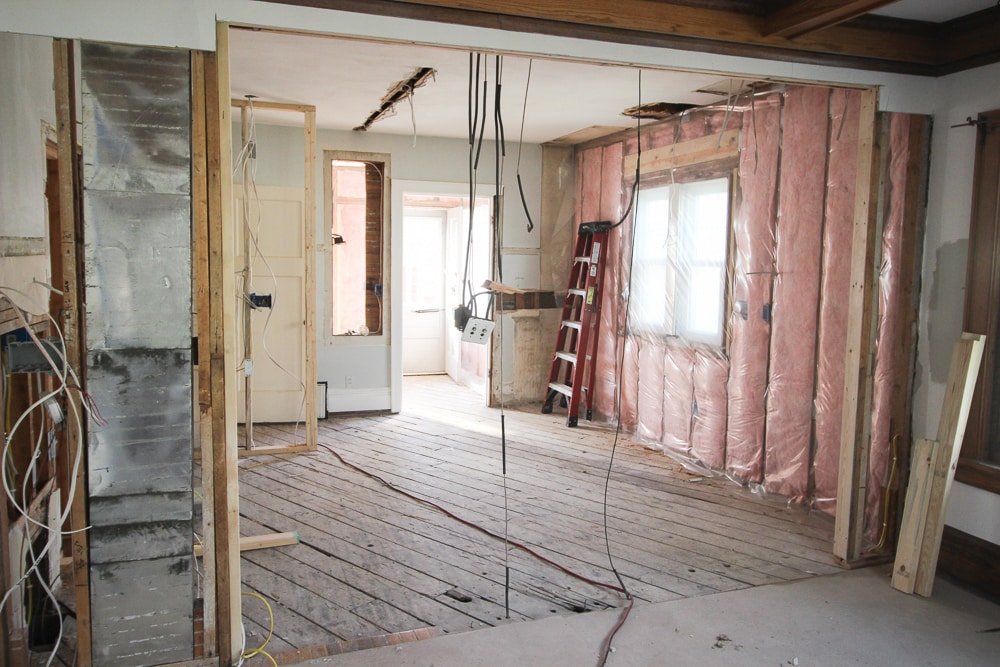 Insulation was installed in the exterior wall.