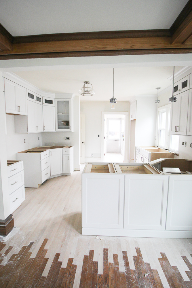 New kitchen cabinets were installed in the kitchen.