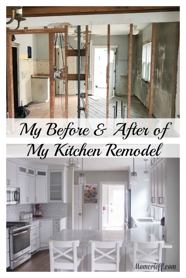 A view of the before and after of my kitchen renovation.