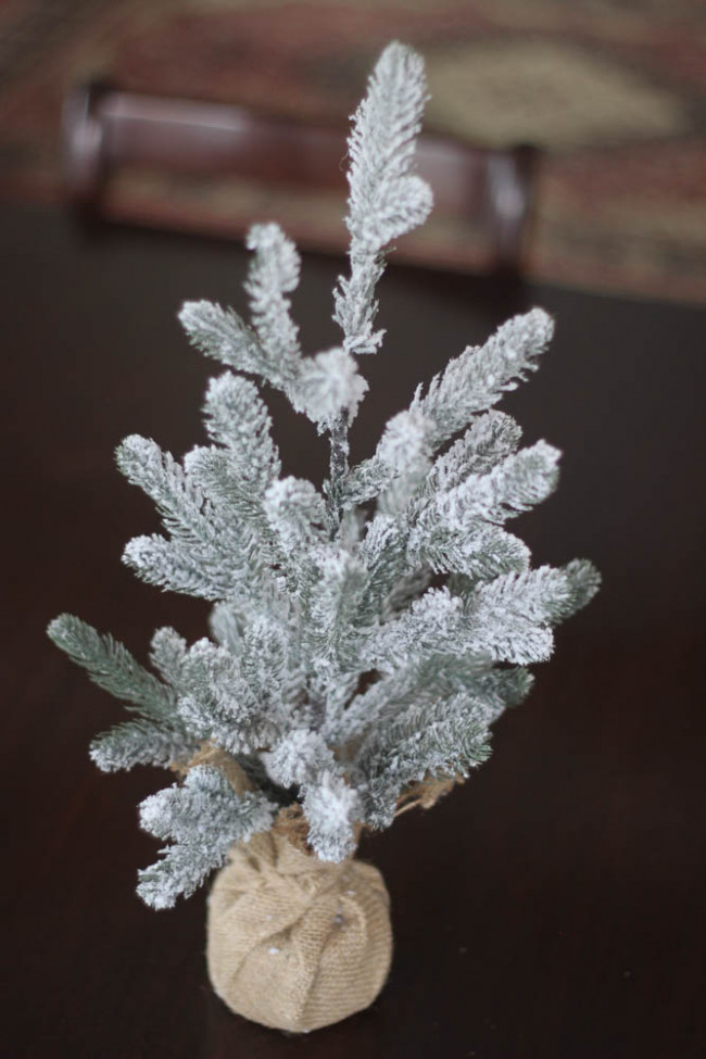 Inexpensive Christmas decor-Small flocked tree