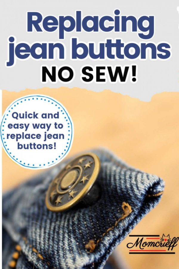 a closeup of a jean button on denim