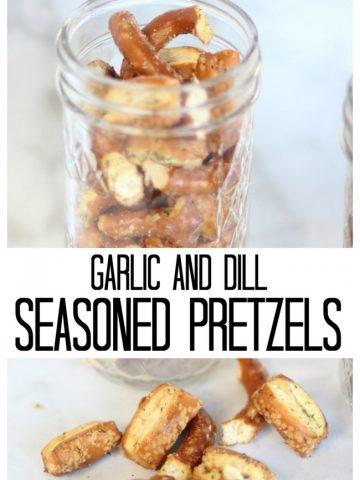 Mason jar with garlic and dill seasoned pretzels in it.