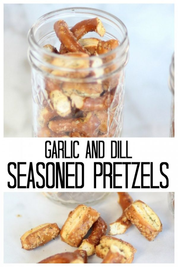 Mason jar with garlic and dill seasoned pretzels in it.