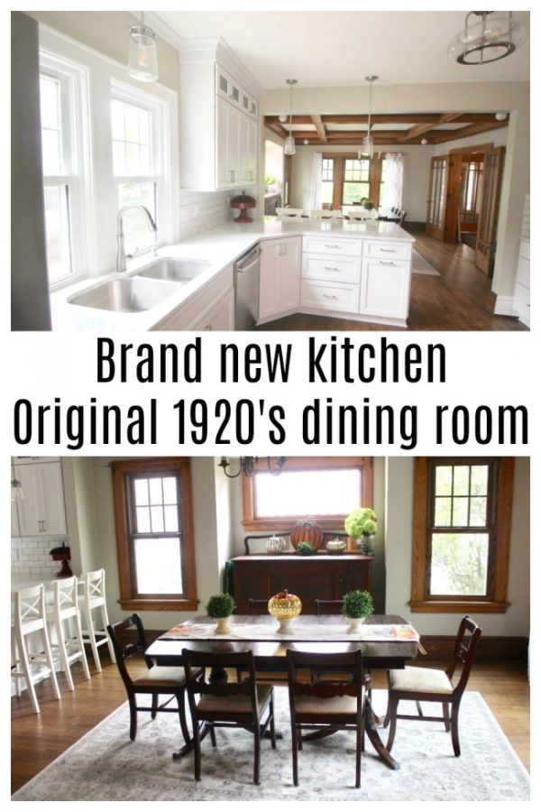 A new white kitchen and a vintage 1920's dining room with original stained wooden trim.