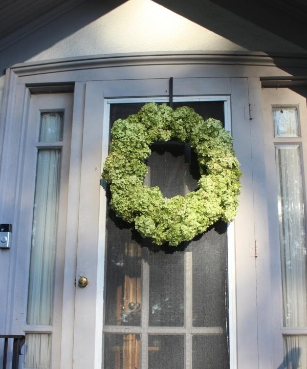 a hydrangea wreath on my front door.
