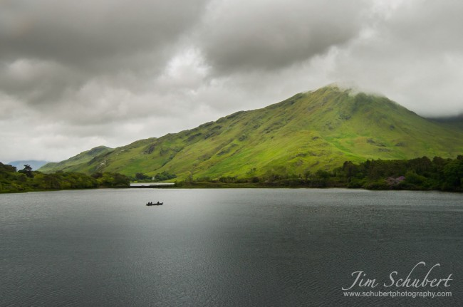 boat on a lake in Ireland shot with a wide angle lens