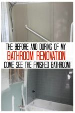 collage of the before and during of a bathroom renovation