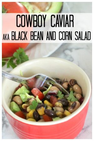 black bean salad in a red bowl