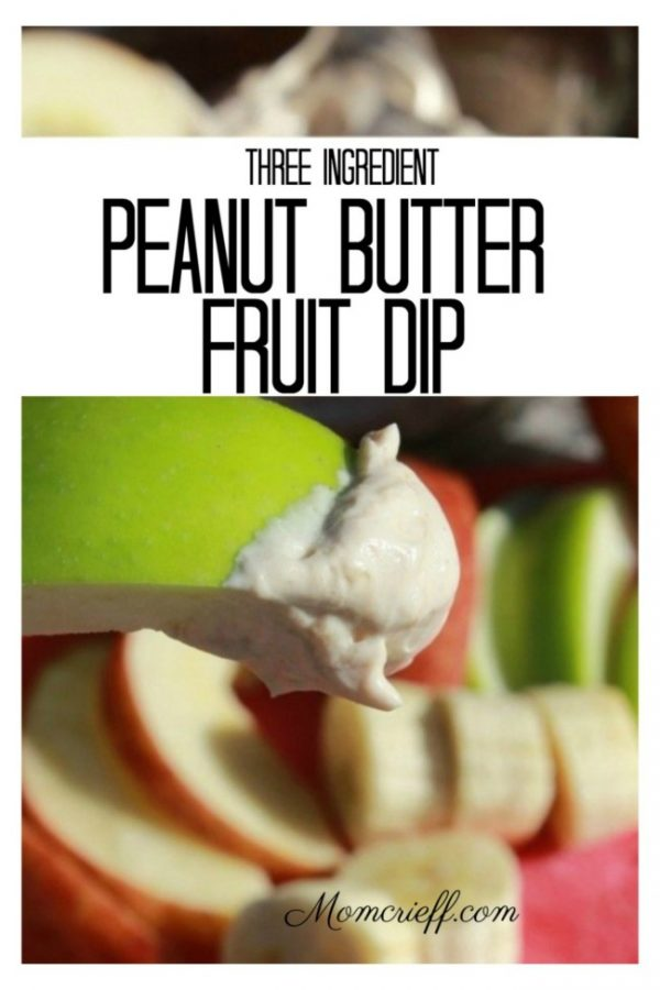 Sliced apples dipped into peanut butter fruit dip