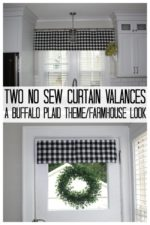 two buffalo plaid valance curtains on windows.