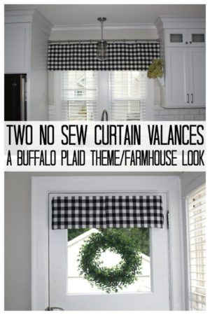 two buffalo plaid valance curtains on windows.