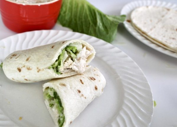 chicken salad caesar salad wrap.