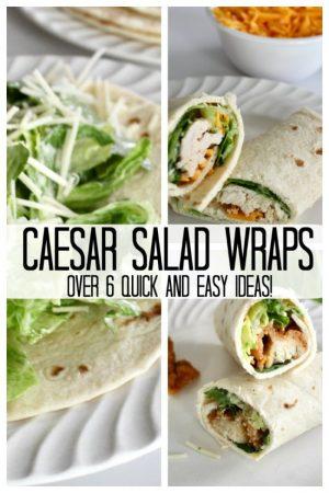 caesar salad wrap collage