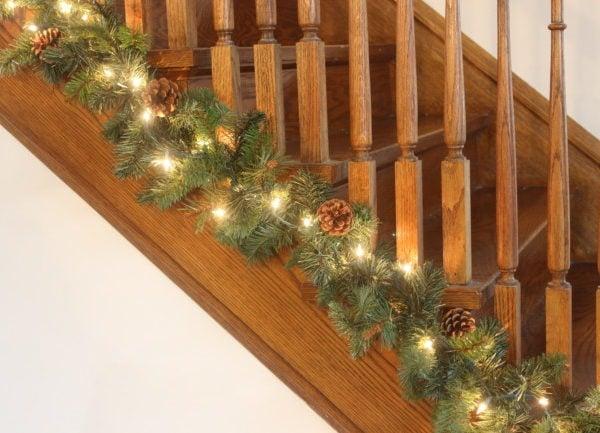 Christmas garland on stairway