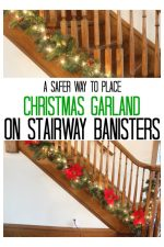 stairway with Christmas garland at the bottom