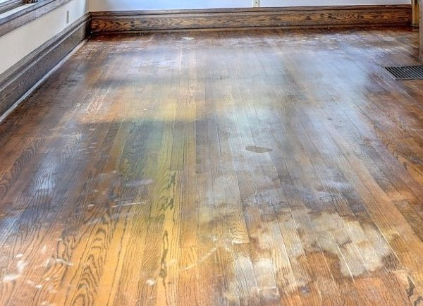closeup of waterstained floors