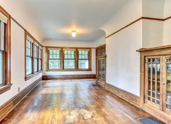 waterstained floors in a sunroom