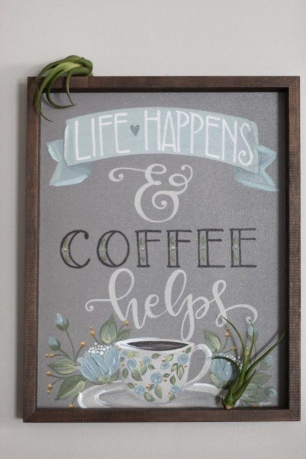 air plants on coffee print