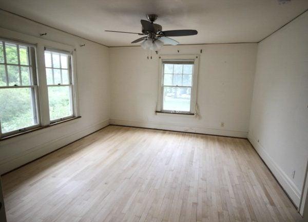 stripped floors, freshly sanded awaiting stain.