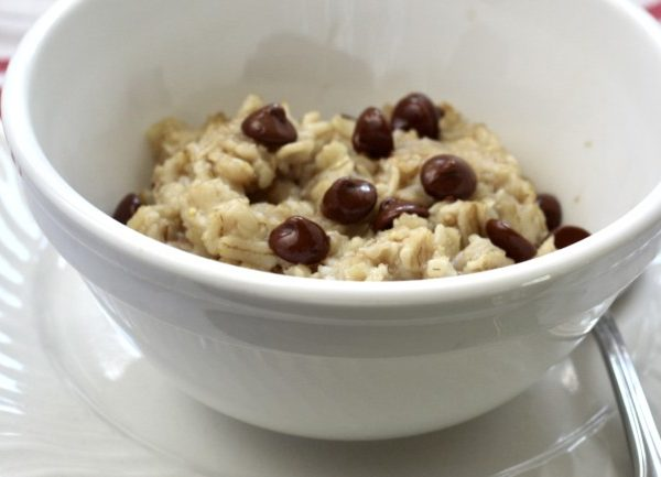 oatmeal with chocolate chips in a white bowl.