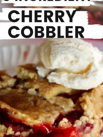 three ingredient cherry cobbler