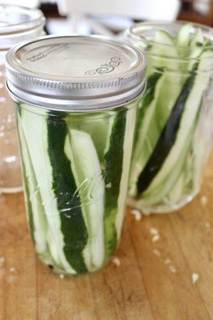 cucumber spears in a jar