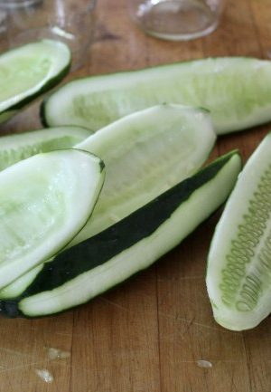 cucumbers cut in half with seeds removed