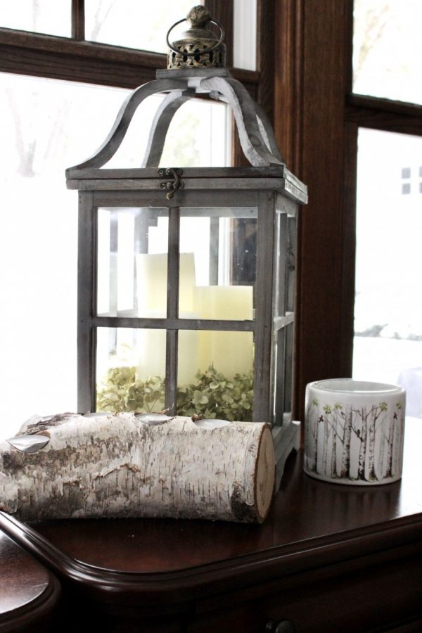 lantern with birch log and birch candle holder