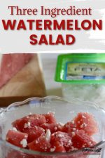 watermelon and feta salad with a text overlay