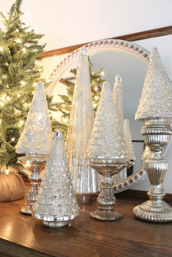 mercury glass christmas tree on silver candle holders